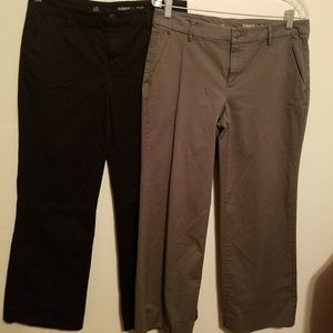 2 pairs of Khakis by Gap size 8 Gray/Black